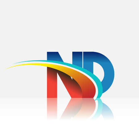 initial letter ND logotype company name colored red and blue and swoosh design. vector logo for business and company identity.