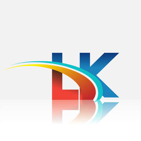 initial letter LK logotype company name colored red and blue and swoosh design. vector logo for business and company identity.