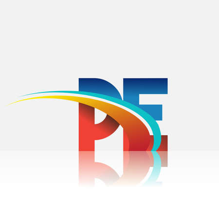 initial letter PE logotype company name colored red and blue and swoosh design. vector logo for business and company identity.