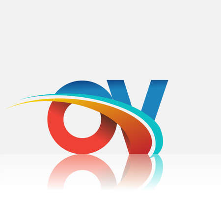 initial letter OV logotype company name colored red and blue and swoosh design. vector logo for business and company identity.