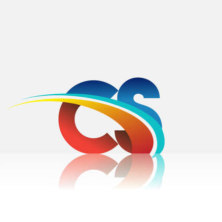 initial letter CS icon company name colored red and blue and swoosh design. vector icon for business and company identity.