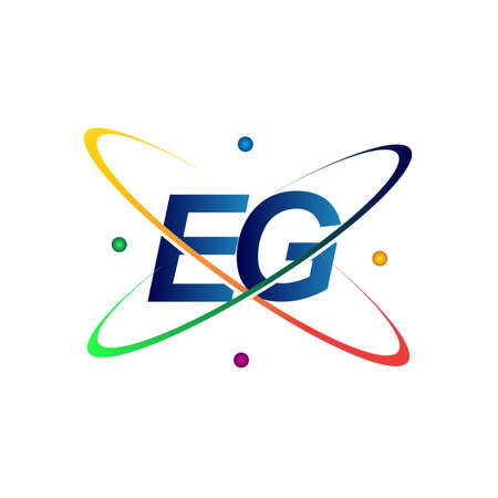 initial letter EG logotype science icon colored blue, red, green and yellow swoosh design. vector logo for business and company identity.