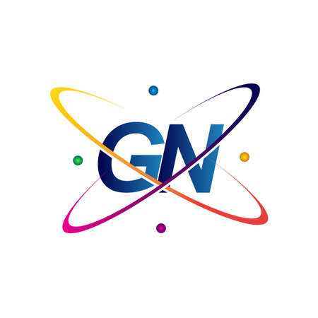 initial letter GN logotype science icon colored blue, red, green and yellow swoosh design. vector logo for business and company identity.