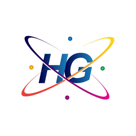 initial letter HG logotype science icon colored blue, red, green and yellow swoosh design. vector logo for business and company identity.
