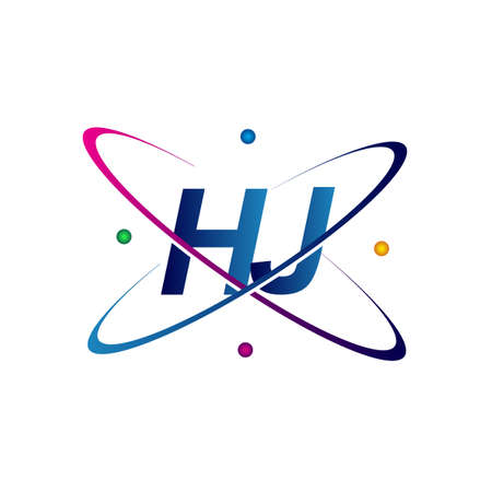 initial letter HJ logotype science icon colored blue, red, green and yellow swoosh design. vector logo for business and company identity.