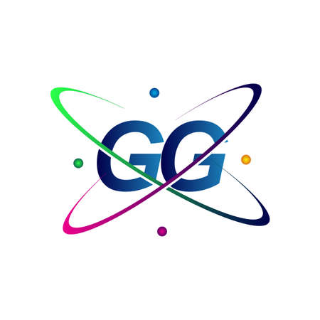 initial letter GG logotype science icon colored blue, red, green and yellow swoosh design. vector logo for business and company identity.