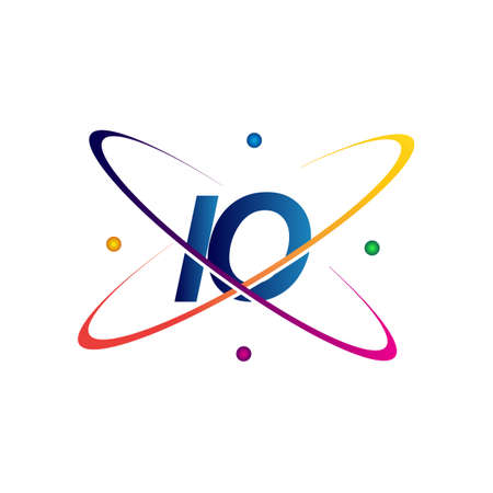 initial letter IO logotype science icon colored blue, red, green and yellow swoosh design. vector logo for business and company identity. Ilustração