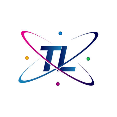 initial letter TL logotype science icon colored blue, red, green and yellow swoosh design. vector logo for business and company identity.