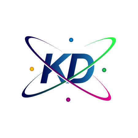 initial letter KD logotype science icon colored blue, red, green and yellow swoosh design. vector logo for business and company identity. Logó