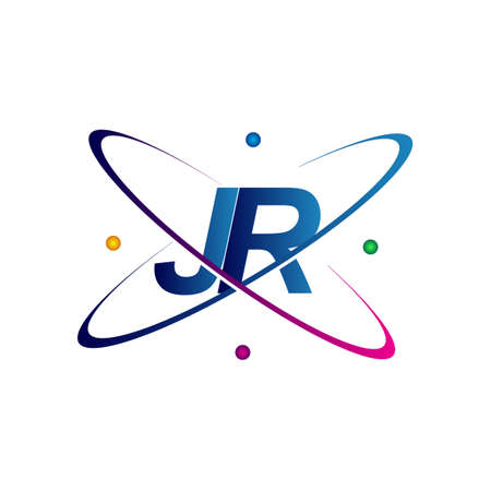 initial letter JR logotype science icon colored blue, red, green and yellow swoosh design. vector logo for business and company identity.