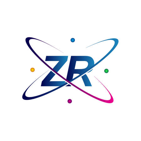 initial letter ZR logotype science icon colored blue, red, green and yellow swoosh design. vector logo for business and company identity. Logó