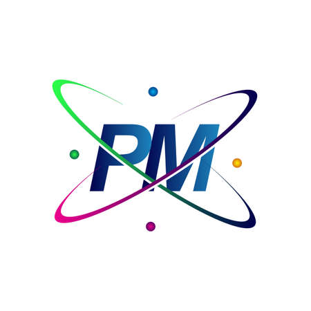 initial letter PM logotype science icon colored blue, red, green and yellow swoosh design. vector logo for business and company identity.  イラスト・ベクター素材