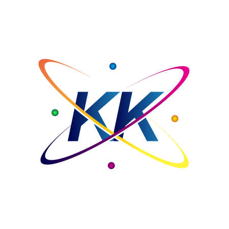initial letter KK logotype science icon colored blue, red, green and yellow swoosh design. vector logo for business and company identity.