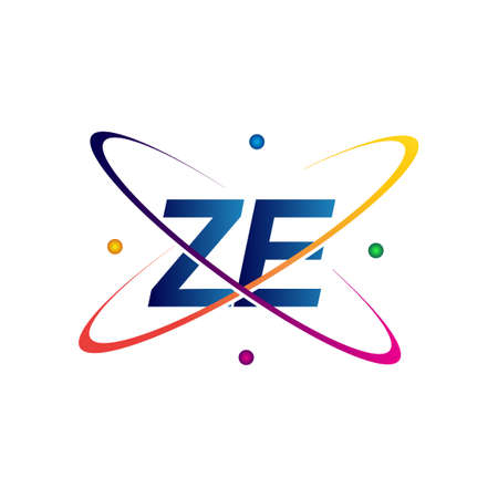 initial letter ZE logotype science icon colored blue, red, green and yellow swoosh design. vector logo for business and company identity.