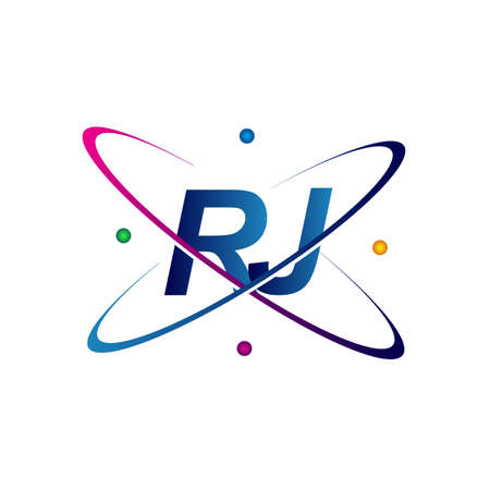 initial letter RJ science icon colored blue, red, green and yellow swoosh design. vector for business and company identity.