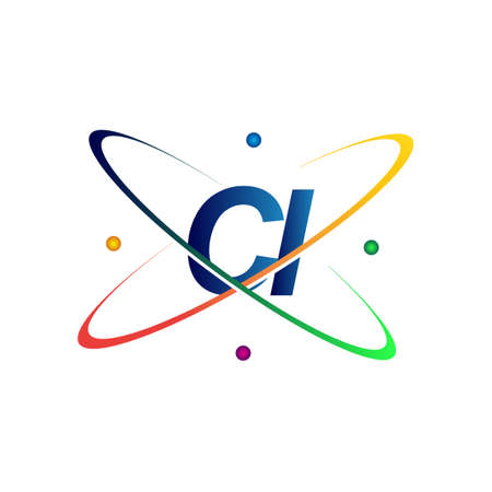 initial letter CI   science icon colored blue, red, green and yellow swoosh design. vector   for business and company identity.