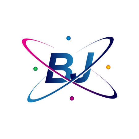 initial letter BJ science icon colored blue, red, green and yellow swoosh design. vector for business and company identity.