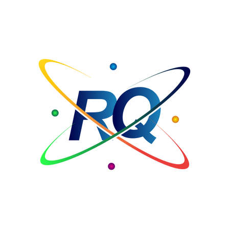 initial letter RQ   science icon colored blue, red, green and yellow swoosh design. vector   for business and company identity.