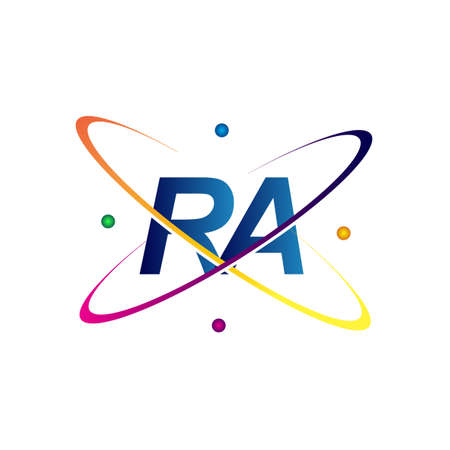 initial letter RA science icon colored blue, red, green and yellow swoosh design. vector   for business and company identity.