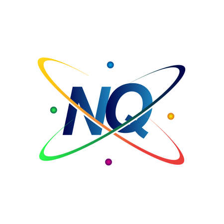 initial letter NQ science icon colored blue, red, green and yellow swoosh design. vector   for business and company identity.
