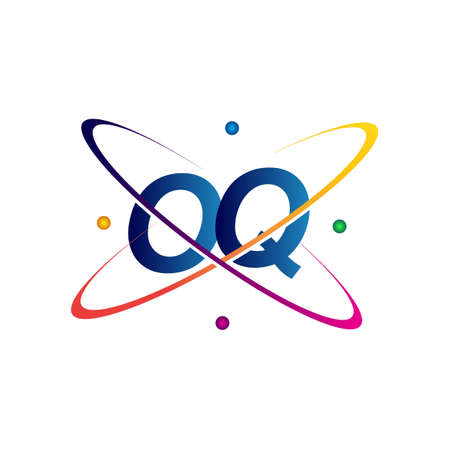 initial letter OQ science icon colored blue, red, green and yellow swoosh design. vector   for business and company identity. Ilustração