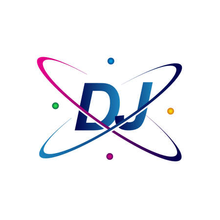 initial letter DJ science icon colored blue, red, green and yellow swoosh design. vector   for business and company identity. Ilustração