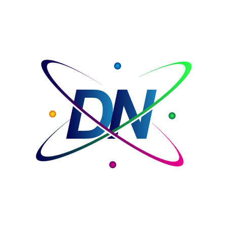 initial letter DN science icon colored blue, red, green and yellow swoosh design. vector   for business and company identity. Ilustração