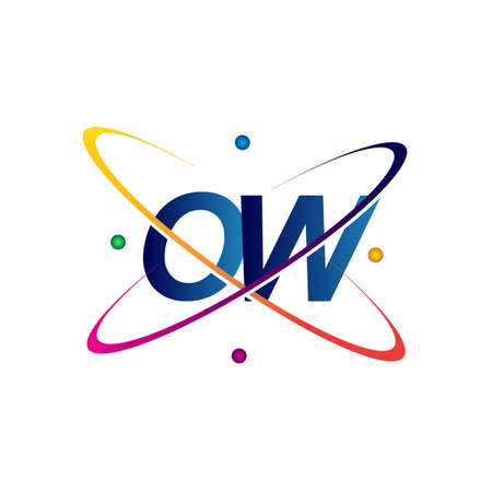 initial letter OW science icon colored blue, red, green and yellow swoosh design. vector   for business and company identity.