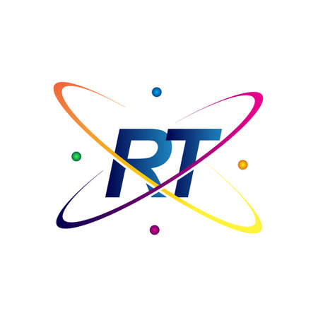 initial letter RT science icon colored blue, red, green and yellow swoosh design. vector   for business and company identity.