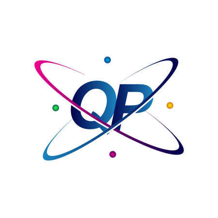 initial letter QP science icon colored blue, red, green and yellow swoosh design. vector   for business and company identity.
