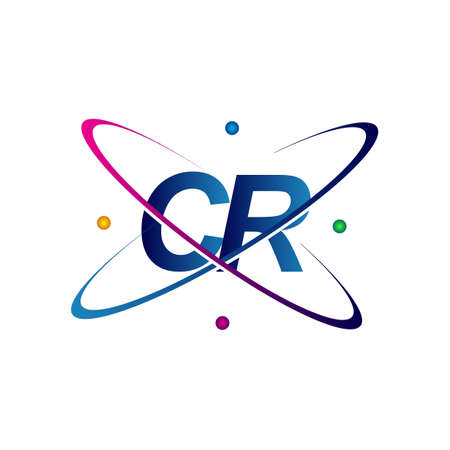 initial letter CR science icon colored blue, red, green and yellow swoosh design. vector   for business and company identity. Ilustração