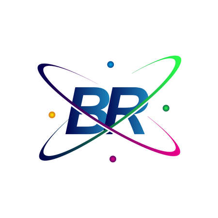 initial letter BR   science icon colored blue, red, green and yellow swoosh design. vector   for business and company identity.