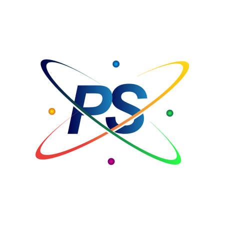 initial letter PS   science icon colored blue, red, green and yellow swoosh design. vector   for business and company identity.