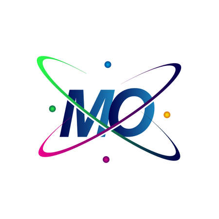 initial letter MO icon science icon colored blue, red, green and yellow swoosh design. vector icon for business and company identity. Ilustração