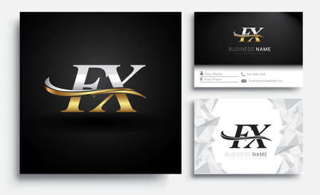 initial letter FX logotype company name colored gold and silver swoosh design. Vector sets for business identity on white background.