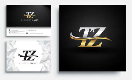 initial letter TZ logotype company name colored gold and silver swoosh design. Vector sets for business identity on white background.