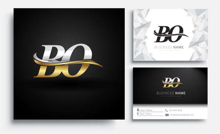 initial letter BO logotype company name colored gold and silver swoosh design. Vector sets for business identity on white background. Çizim