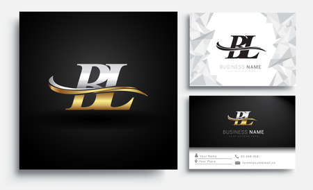 initial letter BL logotype company name colored gold and silver swoosh design. Vector sets for business identity on white background.