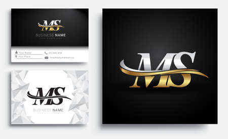 initial letter MS logotype company name colored gold and silver swoosh design. Vector sets for business identity on white background.