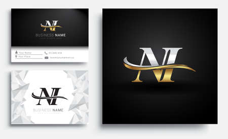 initial letter NI company name colored gold and silver swoosh design. Vector sets for business identity on white background.