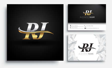initial letter RJ logotype company name colored gold and silver swoosh design. Vector sets for business identity on white background. Logo