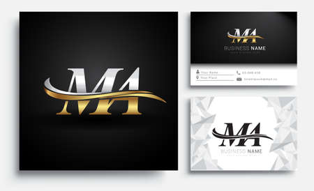 initial letter MA logotype company name colored gold and silver swoosh design. Vector sets for business identity on white background.