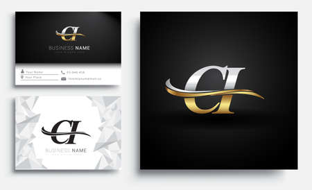 initial letter CI logotype company name colored gold and silver swoosh design. Vector sets for business identity on white background. Illusztráció