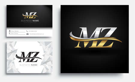 initial letter MZ logotype company name colored gold and silver swoosh design. Vector sets for business identity on white background. Logó