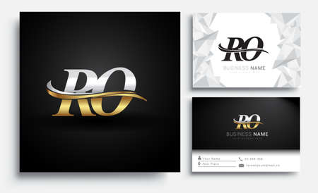 initial letter RO logotype company name colored gold and silver swoosh design. Vector sets for business identity on white background.
