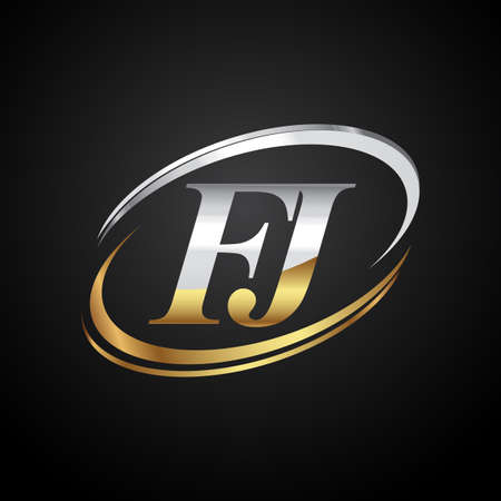 initial letter FJ logotype company name colored gold and silver swoosh design. isolated on black background. Logó