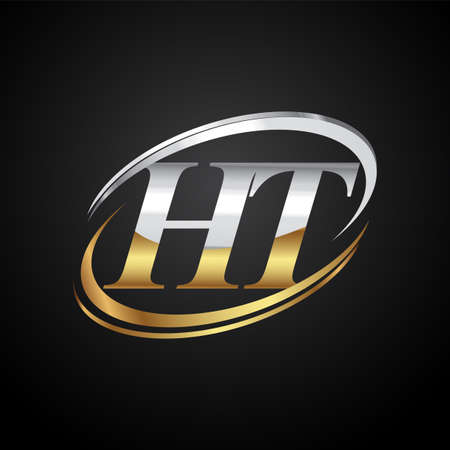 initial letter HT logotype company name colored gold and silver swoosh design. isolated on black background.