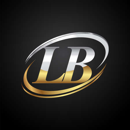 initial letter LB logotype company name colored gold and silver swoosh design. isolated on black background. Logo