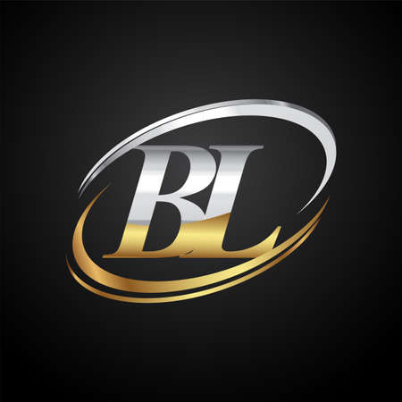 initial letter BL logotype company name colored gold and silver swoosh design. isolated on black background. Logó