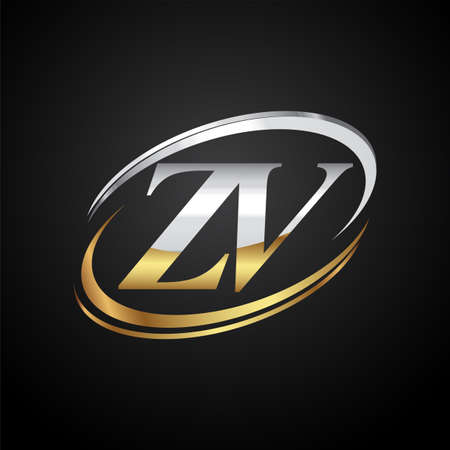 initial letter ZV logotype company name colored gold and silver swoosh design. isolated on black background.